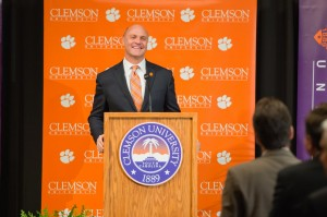 James P. Clements speaks to a gathering after being introduced as Clemson's 15th president.